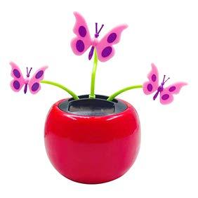 YINGYUE Cute Creative Plastic Butterfly Flower Model Solar Power Swing Toy Car Ornament Home Office ()