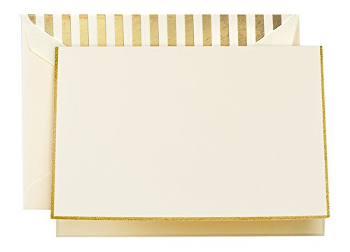 Crane & Co. Gold Bordered Ecru Note with Gold Stripe Lining (CF1641)