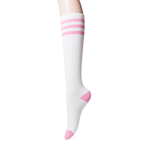 Sockstheway Womens Casual Knee High Tube Socks with Triple Stripes (1Pair, -