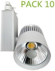 Foco de Carril LED 30W Monofásico G8002 (PACK 10) Blanco Cálido Alta Luminosidad Foco Led de Techo, Iluminación Comercial ONSSI LED: Amazon.es: Iluminación