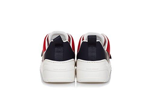 Hommes Dior Sneakers Chaussures En Tissu Et Cuir Rouge Mat