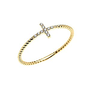 14k Yellow Gold Dainty Diamond Sideway Cross Rope Design Ring