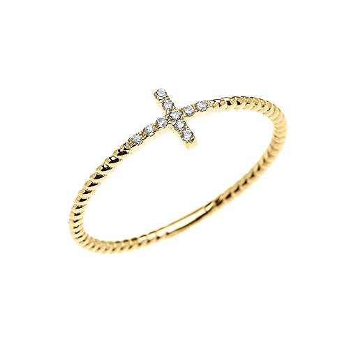 14k Yellow Gold Dainty Diamond Sideway Cross Rope Design Ring(Size 7)