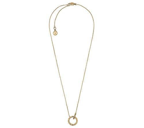 Michael Kors Goldtone Pave Interlocking Logo Ring Pendant Necklace -