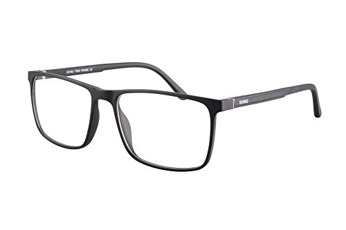 SHINU TR90 Lightweight Frame Progressive Multifocus Reading Glasses-SH077(matte black, up 0 down - Zero Glasses Magnification