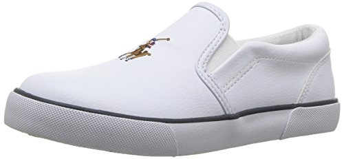 (Polo Ralph Lauren Kids Boys' BAL Harbour II Sneaker, White Tumbled, 3 Medium US Little Kid)