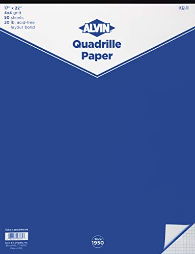 Alvin, Quadrille Paper, Graph and Drafting, 4x4 Grid, 17 x 22 Inches -  50 Sheets