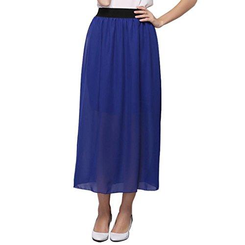 Jupe, Kingwo Pliss Fille tendue Taille haute Plaine clair Jupe longue Bleu