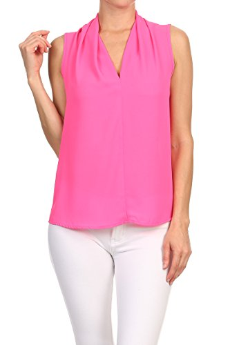 ReneeC. Women's Solid V Neck Sleeveless Office Tank Blouse Top - Made in USA (2X-Large, Pink) (Pink Blouse Sleeveless)