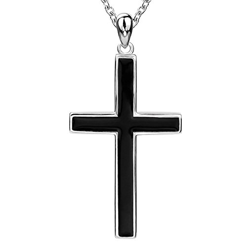 Sterling Real Silver in 925 Unique Large Black Charms Classic Cross Pendant Necklaces for Men Husband 'Father's Day Gift'