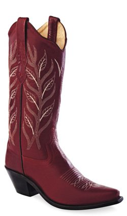 Old West Red Womens All Over Leather 12in Stitch Snip Toe Cowboy Boots 5.5 B