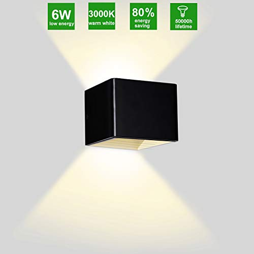 Up Down Light Wall Indoor Wall Sconce Lighting Indoor Modern Led Wall Sconce Light Black Wall Mount Lamp Cube Wall Light Fixture Interior for Bedroom Living Room Stair Hallway Warm Light / 6W 3000K