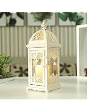 JHY DESIGN Linterna Decorativa de Color Crema 38 cm de Alto faroles de Metal Linterna Colgante Estilo Vintage para Exteriores, Eventos, Fiestas y Bodas (Crema)