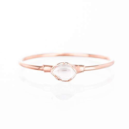 Tiny Raw Herkimer Diamond Ring, Rose Gold, Size 7, Dainty Boho Style Jewelry