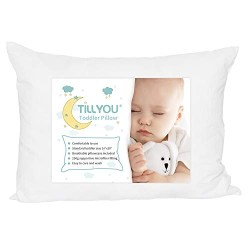 TILLYOU-Ergonomic-Toddler-Bed-Crib-Pillow-with-Pillowcase-100-Soft-Cotton-Baby-Pillow-for-Sleeping-in-Daycare-Preschool-Kids-Portable-Travel-Pillow-for-Neck-Head-and-Spine-13X18-White