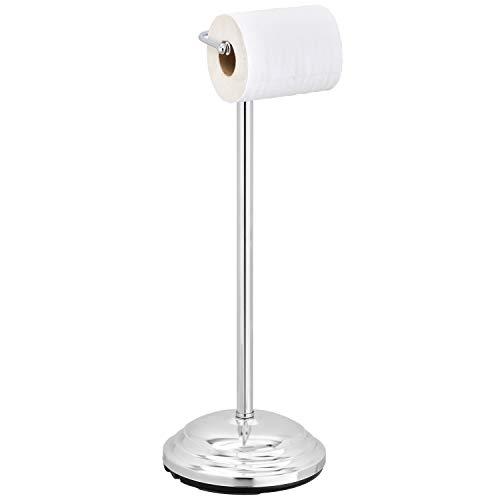 (MyGift Freestanding Chrome-Plated Single-Roll Toilet Paper Holder)