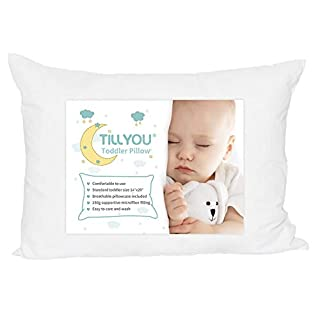 TILLYOU Ergonomic Toddler Pillow with Pillowcase for Crib, Bed, Cot - 100% Egyptian Cotton Baby Nap Pillow for Sleeping Travelling - Machine Washable Kids Pillow for Preschool, Small, 13x18 White