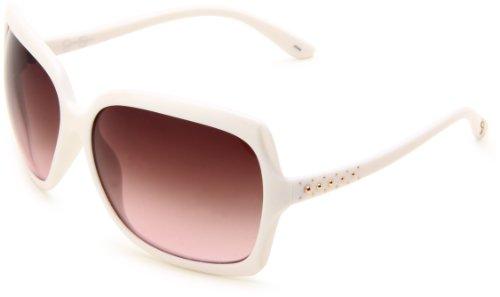 Jessica Simpson Women's J537 Rectangle Sunglasses,ite Frame/Smoke To Pink Gradient Lens,One - White Jessica Simpson Sunglasses
