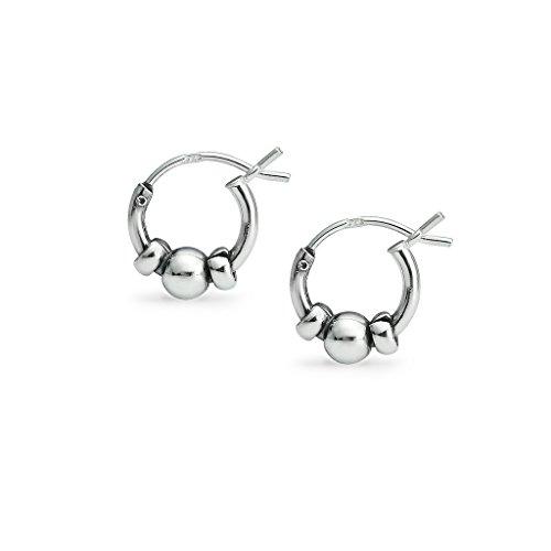 (Sterling Silver Balinese Beaded Hoop Earrings 10mm)