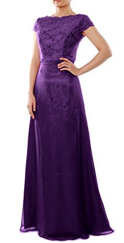 da damigella d' MACloth nozze Purple con Maniche abito onore Abito di Lungo festa donna Donna w4pFqZ