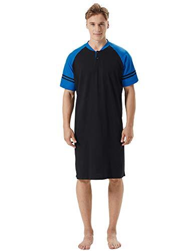 (Aibrou Mens Nightshirt Cotton Short Sleeve Nightwear Comfy Henley Sleepwear (Black_Blue, X-Large))