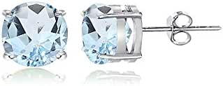 Sterling Silver Blue Topaz Round Stud Earrings, All Sizes
