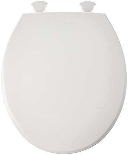 Bemis 800EC000 Plastic Round Toilet Seat with Easy Clean and Change Hinge, White (Plastic Toilet Seat)