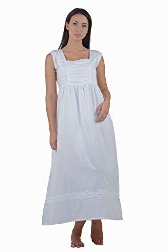 Coton Blanc victorienne Vintage Reproduction Plus Size Nuisette. Tailles Franais 36-66