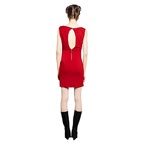 Alice + Olivia Women's Raven Ruched Shoulder Dress Large Red
