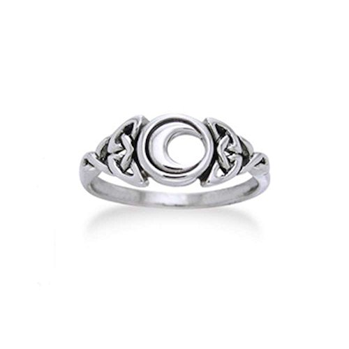 Sterling Silver Celtic Trinity Knot and Crescent Moon Ring Size 8(Sizes -