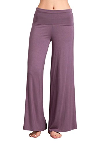 HEYHUN Plus Size Womens Tie Dye Solid Wide Leg Bottom Boho Hippie Lounge Palazzo Pants - Purple - - Jersey Purple Drapes