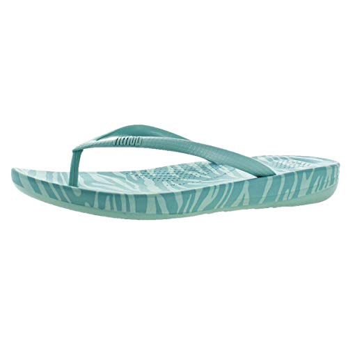 FitFlop Womens iQushion Ergonomic Flip Flop, Aqua Tiger Print, 7 B(M) US ()