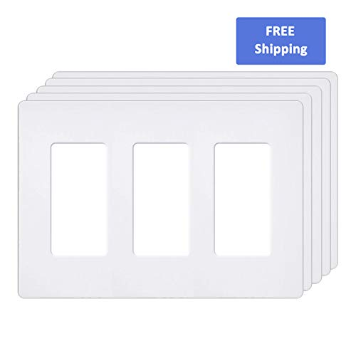 Price comparison product image 3-Gang Screwless Wall Plates by BESTTEN, USWP6 Series, Outlet Covers for GFCI, Decor Receptacle, Dimmer and Light Switch, Unbreakable PC, Residential Grade, UL Listed, Snow-White, Pack of 5
