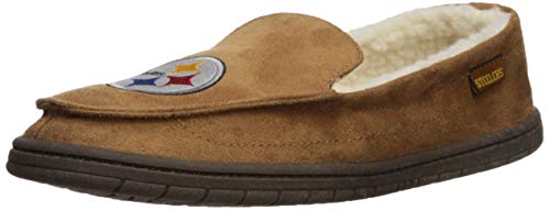 FOCO NFL Pittsburgh Steelers Beige Team Logo Moccasin Slippers Shoe, Beige, Small (7-8) (Steelers Slippers Nfl Pittsburgh)