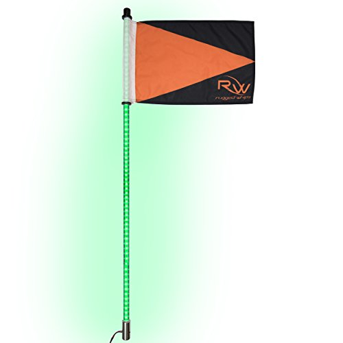 Rugged Whips LED Light Whip with Flag 4ft 360 Whip Antenna Light Pole with Quick Connect/Disconnect for SxS ATV Quad UTV Polaris RZR Off-Road 4 Wheeler Sand Rail (1pc) (Green) (Off Race Road Buggies)