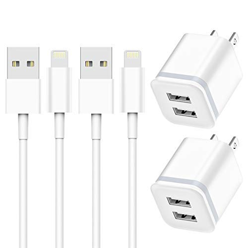 Phone Charger 6ft Cable with Wall Plug (Pack of 4), DECIPA Dual USB Wall Charger Adapter Block Cube with Charging Cord Replacement for iPhone Xs/Xs Max/XR/X 8/7/6/6S Plus SE/5S/5C, Pad, Pod