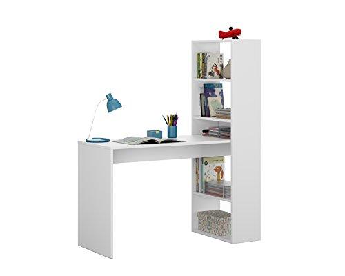 Habitdesign 008314A - Escritorio y estanteria reversible, mesa de oficina o escritorio acabada en color Blanco, medidas: 144 x 120 x 53 cm