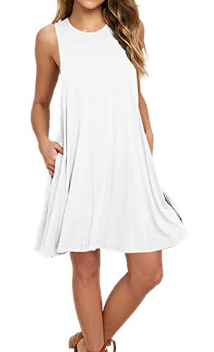 AUSELILY Women's Sleeveless Pockets Casual Swing T-Shirt Dresses (L, White)