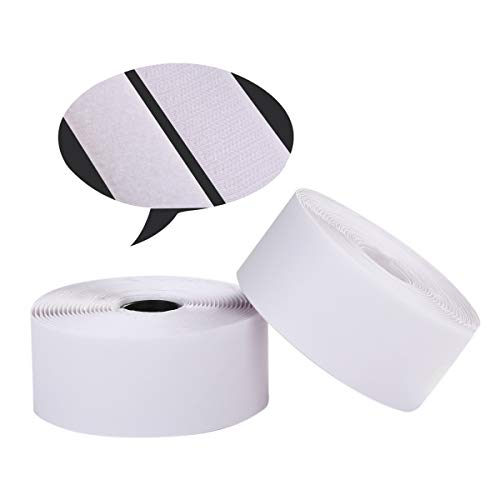 Self Adhesive Hook and Loop Tape Roll 2 Inch White Sticky Back Strip Tape Fastener Strong Adhesive Interlocking Tape for Picture and Tools Hanging Pedal Board Fastening 5 Yard