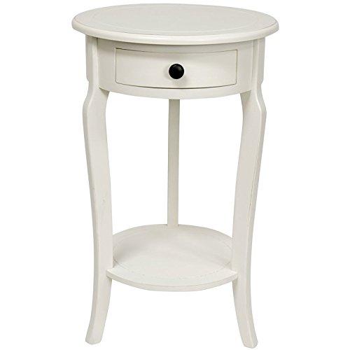 Oriental Möbel 26Classic Rund Ende Tisch mit Schublade Weiß
