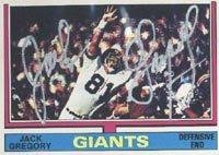 Jack Gregory New York Giants 1974 Topps Autographed Card - signed in silver. This item comes with a certificate of authenticity from Autograph-Sports. Autographed