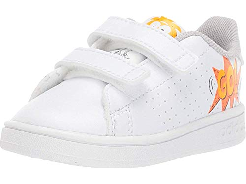 adidas Baby Advantage Sneaker, White/Orange, 9K M US Toddler (Adidas Neo V Jog Infant & Toddler Sneaker)
