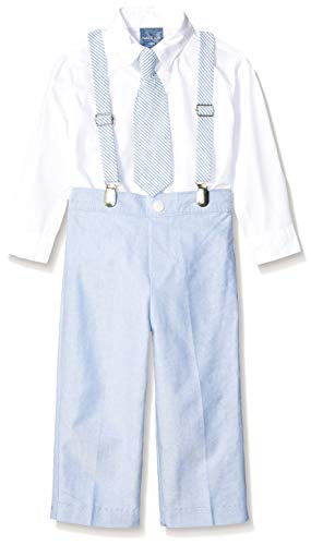 Nautica Baby  Boys' Set with Shirt, Pant, Suspenders, and Bow Tie, Seersucker Regatta Blue, 18M