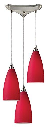 - Vesta 3 Light Pendant in Satin Nickel and Cardinal Red Glass