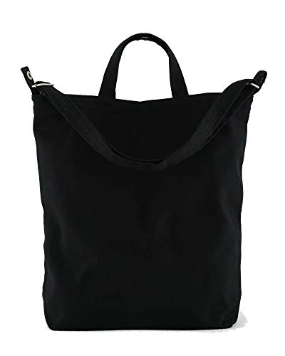 BAGGU Duck Bag Canvas Tote, Essential Tote, Spacious and Roomy, Black]()