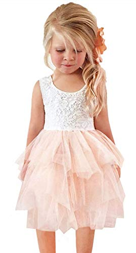 2Bunnies Girl Beaded Peony Lace Back A-Line Tiered Tutu Tulle Flower Girl Dress (No Applique Pink, 4T)