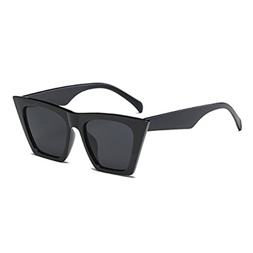 Cat Eye Negro Brillante Oval marco Sunglasses Women Aiweijia Style Retro Vintage Lens plástico twH4CpxqnR