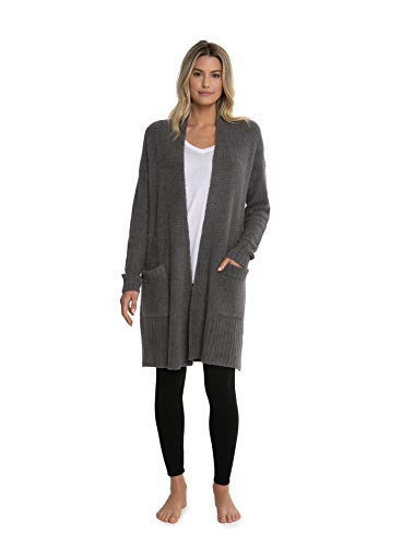 Bamboo Ribbed Sweater - Barefoot Dreams CozyChic Lite Long Weekend Cardi, Ash (X-Large)