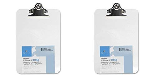 Sparco Transparent Plastic Clipboard, 6 x 9, 2 Packs