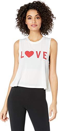 Spiritual Gangster Women's Love Active Crop Tank, White, Small ()